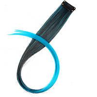 Прядь искусственных волос на заколке 50 см омбре черно-голубая