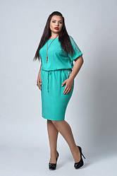Літнє жіноче плаття , софт, оздоблена гіпюром, р. 50,54,56 бірюза (518)