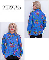 Женская расклешенная блуза на пуговицах принт розы  ТМ Minova (50,52,54,56,58), фото 1