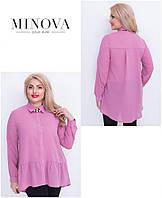 Шифоновая блузка с удлиненной спинкой большого размера Производитель Украина ТМ Minova (52,54,56,58)