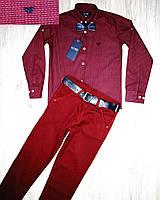 Комплект для мальчика бордовые рубашка и брюки, фото 1