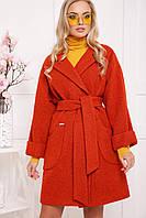 Модное женское шерстяное пальто цветтерракотовый