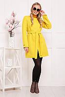 Яркое модное женское пальто прямого покроя цвет желтый