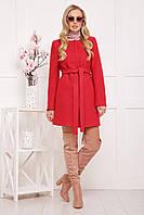 Женское шерстяное пальто с поясом цвет красный