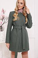 Женское шерстяное пальто с поясом цвет зеленый