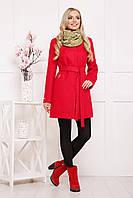 Женское шерстяное пальто с поясом