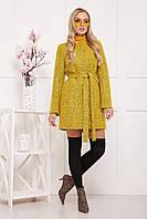 Яркое женское шерстяное пальто с поясом