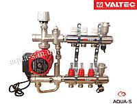 """Коллекторный блок Valtec с насосом и смесительным узлом Valmix на 10 выходов DN 1"""" (Valmix 589)"""