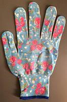 """Перчатки рабочие женские нейлоновые с микроточкой """"Цветок"""""""