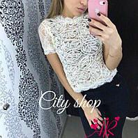 Женская стильная гипюровая кофточка,вышивка нити (42/46р) 88П194