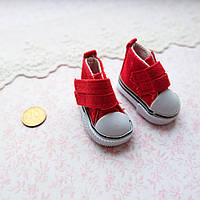 Обувь для кукол, кеды на липучке красные - 5*2.5 см