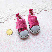 Обувь для кукол, кеды на липучке ярко-розовые - 5*2.5 см, фото 1