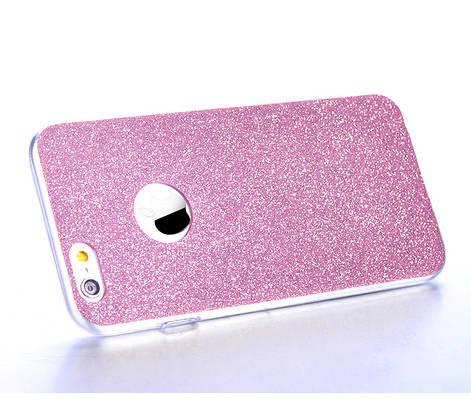 Чехол накладка на iPhone 7/8  силикон, отверстие для яблока, розовый