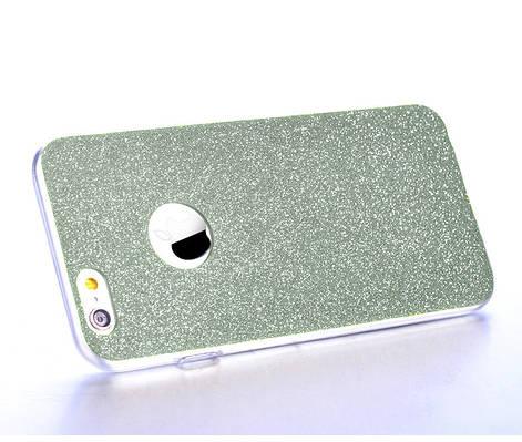 Чехол накладка на iPhone 5/5s/se силикон, отверстие для яблока, голубой