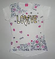"""Туника - футболка  для девочки """" Love """" выпуклый рисунок  8,9,10,11,12 лет"""