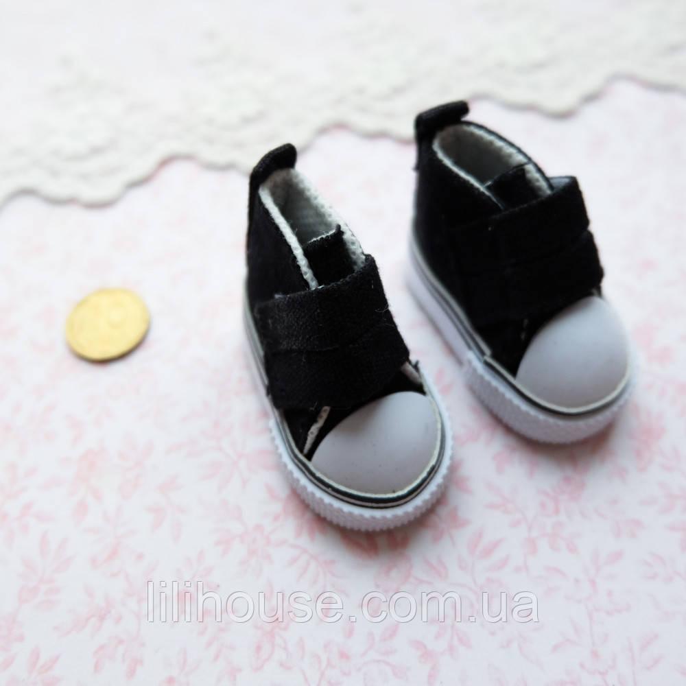 Обувь для кукол, кеды на липучке черные - 5*2.5 см