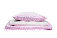 Постель в детскую кроватку «Сердечки/ нежный розовый»