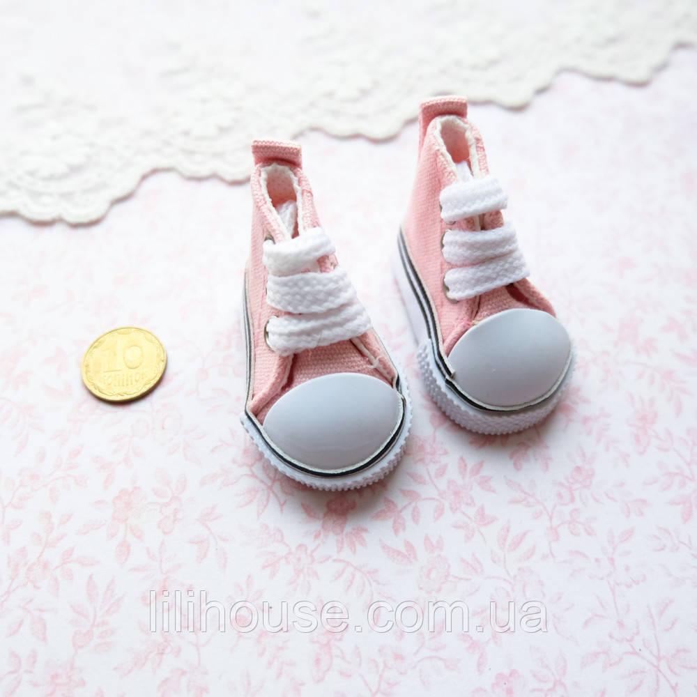 Обувь для кукол Кеды на Шнуровке 5*2.5 см НЕЖНО-РОЗОВЫЕ