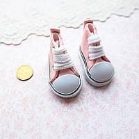 Обувь для кукол, кеды на шнуровке нежно-розовые - 5*2.5 см