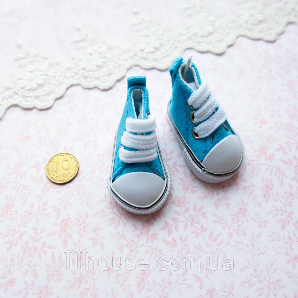 Обувь для кукол Кеды на Шнуровке 5*2.5 см БИРЮЗОВЫЕ