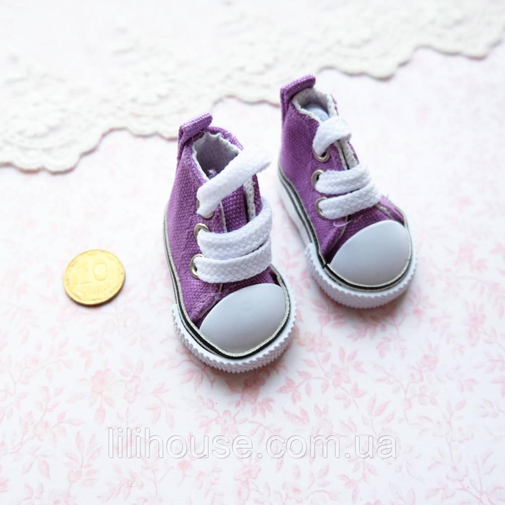 Обувь для кукол, кеды на шнуровке фиолетовые - 5*2.5 см