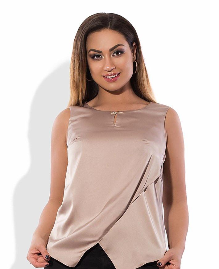 Блуза из шелка бежевая размеры от XL 3040