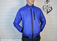Весенняя мужская синяя куртка без капюшона