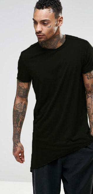 0ad3d47709a2c Мужская длинная черная ассиметричная футболка - INDIGO - SHOP в Днепре