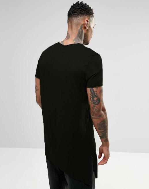 82735557bff51 Мужская длинная черная ассиметричная футболка , цена 359 грн., купить в  Днепре — Prom.ua (ID#662781404)