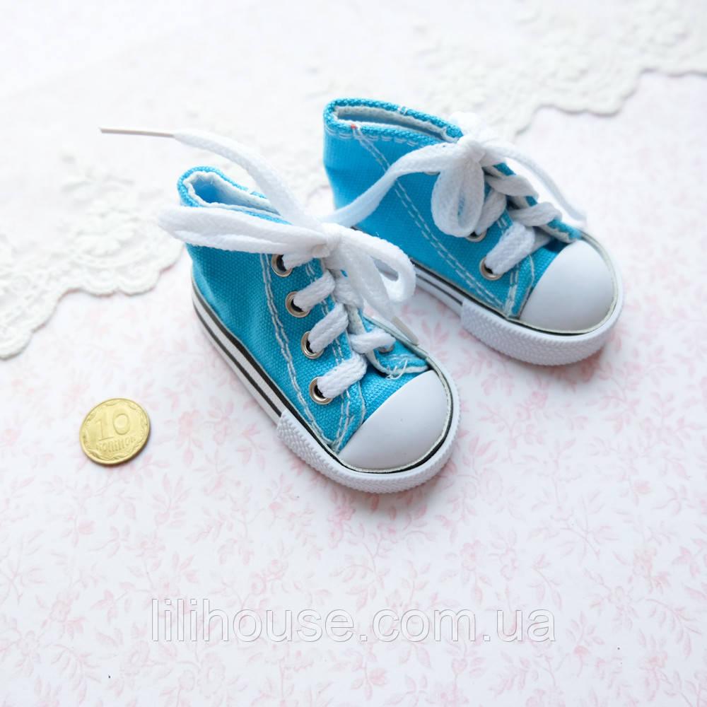 Обувь для кукол, кеды на шнуровке бирюзовые - 7*3 см
