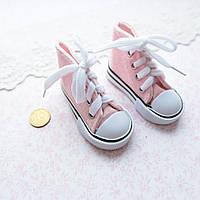 Обувь для кукол, кеды на шнуровке нежно-розовые - 7*3 см