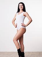 Женский белый купальник майка для гимнастики и танцев хлопок
