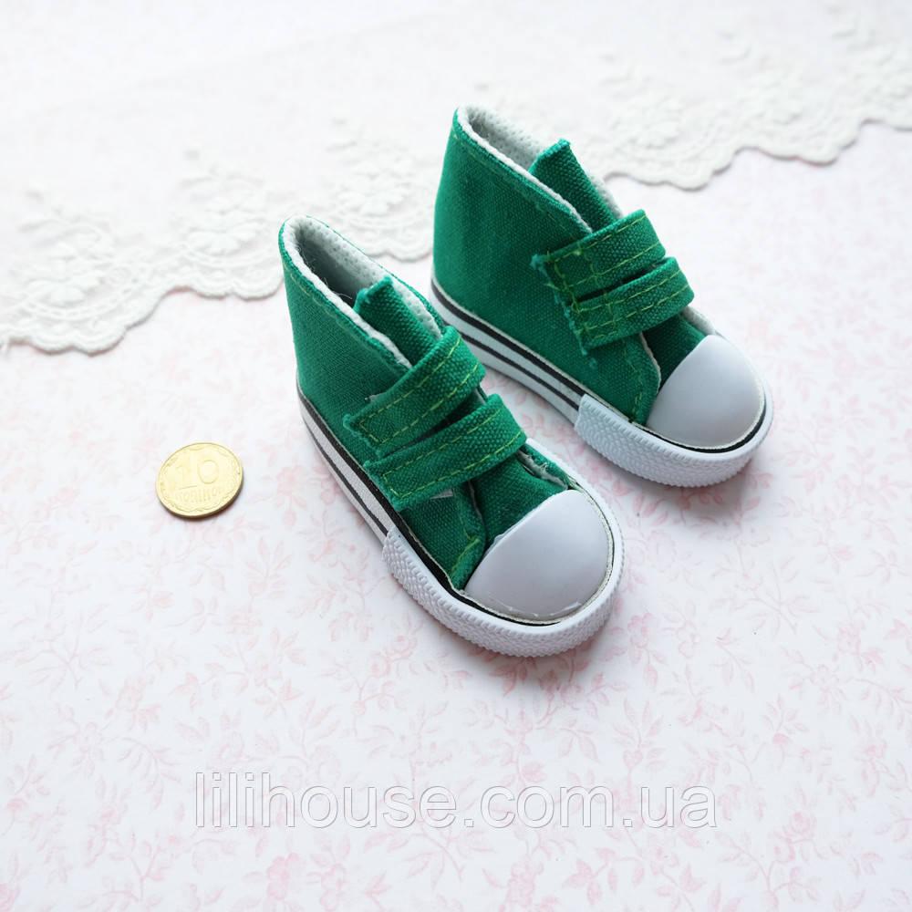 Обувь для кукол, кеды на липучках зеленые - 7*3 см