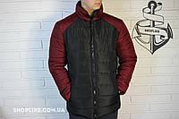Зимняя черная мужская куртка с красными рукавами