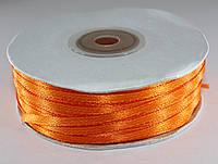 Лента атласная. Цвет - тёмно-оранжевый. Ширина - 0,3 см, длина - 123 м