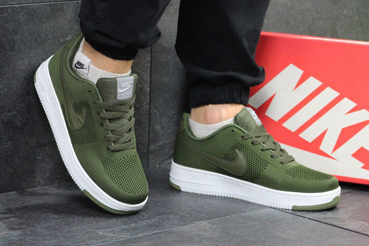 Мужские  кроссовки  Nike Air Force (зеленые),  ТОП-реплика