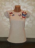 Стильная футболка для девочек Бабочки размеры: 152,158,164,170,176 роста