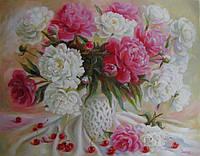 «Цветочно-вишневый натюрморт» картина маслом