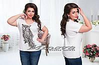 Стильная принтованная блузка с фигурным вырезом большой размер  ТМ Minova (52,54,56), фото 1