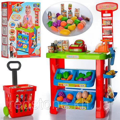 """Магазинчик """"Мій супермаркет"""" з візком 661-80 (активна каса,сканер,ваги,фрукти,овочі,...)"""