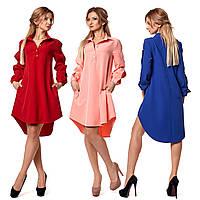 Расклешенное платье с асимметричным низом и рубашечным воротником