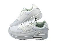 Женские стильные кожаные белые кроссовки копия Nike Air Max 90 Restime