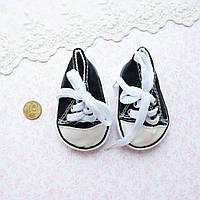 Обувь для кукол, кеды на шнуровке черные - 7*3.5 см
