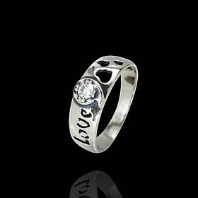 Серебряное кольцо LOVE с прозрачным фианитом