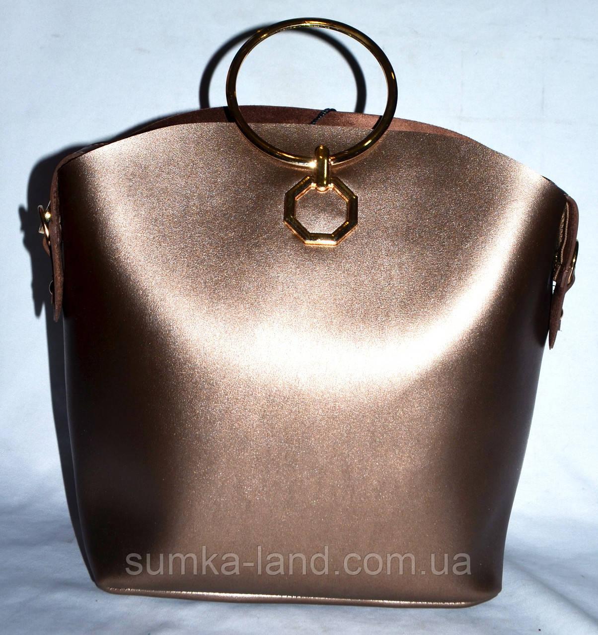 88fc18595d36 Женская бронзовая сумка Michael Kors с металлическими круглыми ручками  27*24 - SUMKA-LAND