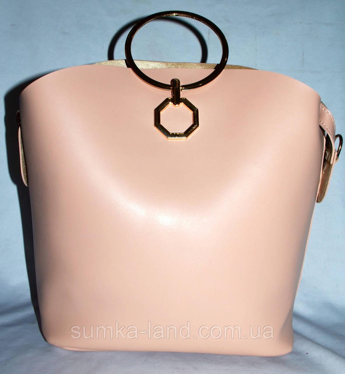 c0a54015c513 Женская пудровая сумка Michael Kors с металлическими круглыми ручками 27 24