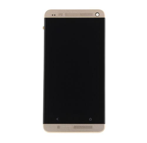 Дисплей модуль HTC One M7 801e в зборі з тачскріном, золотистий, з рамкою