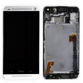 Дисплей модуль HTC One M7 802w Dual Sim в зборі з тачскріном, білий, з рамкою