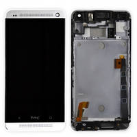 HTC One M7 802w DualSim дисплей в зборі з тачскріном в рамці білий