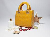 Женская Желтая лаковая сумка Christian Dior копия высокого качества